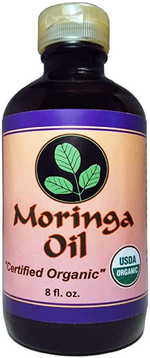 Moringa Oil Organic 8 oz 100% Pure, Cold Pressed, Food Grade, Amber Glass Bottle & Pop top. Use to Rejuvenate, Moisturize & Heal Face, Body, Skin and Hair.
