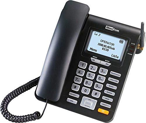 Maxcom - teléfono Fijo gsm de Escritorio con Tarjeta sim función SMS (Seniors, Escritorio.) - mm28d - Negro