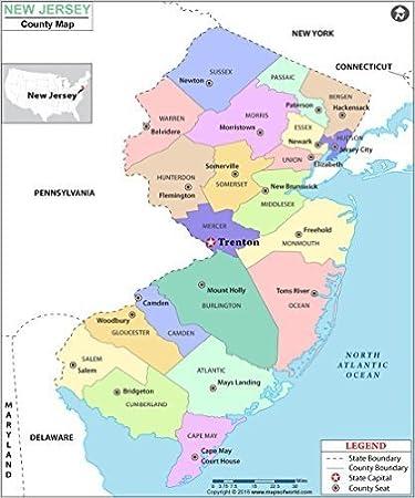 Amazon.com : New Jersey County Map (36\