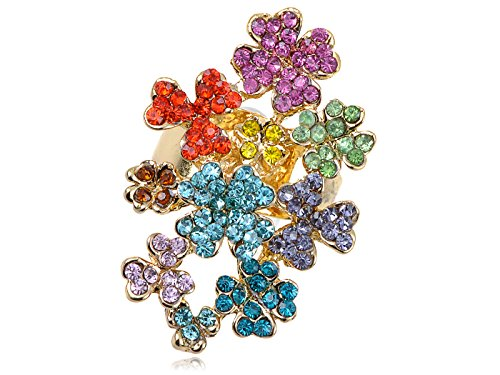 Alilang Rainbow Multicolor Crystal Rhinestone Floral Flower Garden Cluster Womens Statement - Bloom Ring Crystal Cocktail