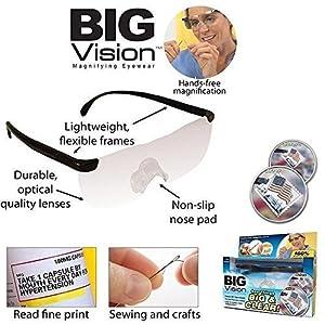 Unisex Pro Big Vision Reading As Seen On TV Bigger Magnifying Glasses Eyewear
