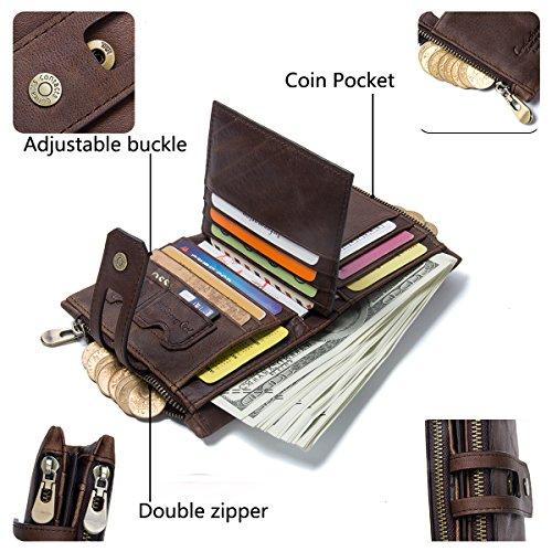 noir Contacts Coin Café Zipper Hommes Double Porte Bifold Cuir Véritable Pocket monnaie Noir wnrSqUvw