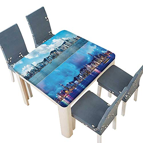 PINAFORE Solid Tablecloth Times of Hg Kg City Morning and Evening Urban Downtown Bathroom Table Cover 45 x 45 INCH (Elastic Edge)