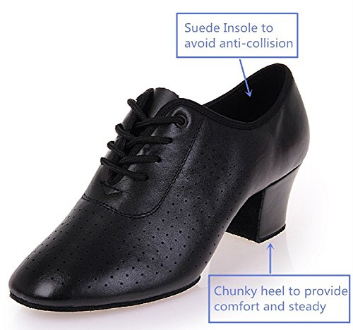 Women Chunky up Shoes BeiBestCoat Heel Dancing Dancing Shoes Lace Leather 7xvwwacdq