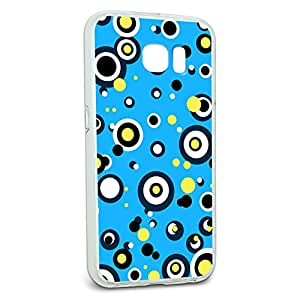 Protective Slim Hybrid Rubber Bumper Case for Galaxy S6 Circles Dots Pattern - Blue Yellow