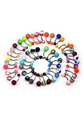 Coolrunner ® Wholesale Belly Navel Button Rings Bar Barbells Ball Acrylic Steel (50)
