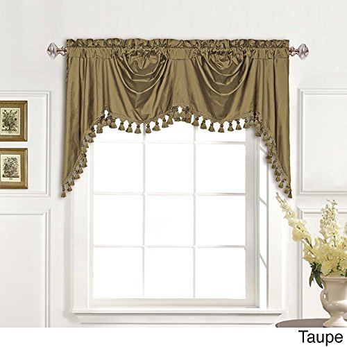MISC 108 Inch Taupe Jewel Austrian Window Valance Single Panel, Brown Rolling Wave Pattern Window Treatment 1 Piece Elegant Fringe Tassels Scallop Swag Accent Look Gorgeous Lined Rod Pocket, Silk