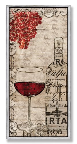 Stupell Home Décor Red Wine And Grapes Wall Plaque, 7 x 0.5 x 17, Proudly Made in USA