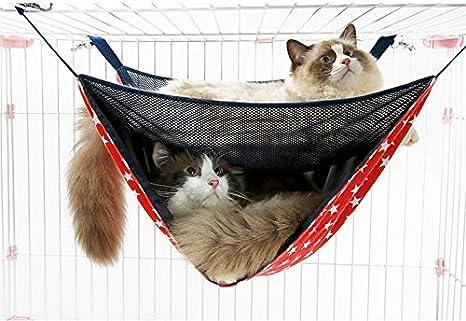 AJ Hamaca de Doble Capa de Malla Transpirable para Gato, Hamaca de Verano