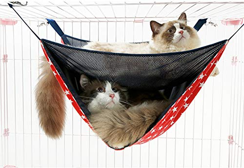 Miss.AJ Breathable Mesh Double-Layer Cat Bed Hammock, Summer and Winter Cat Bed Hammock Cat Cage Luxury Double-Layer Swing Hanging Bedding for Cats Small Dogs