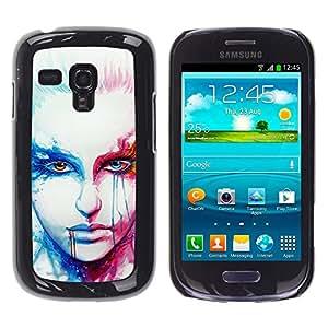 QCASE / Samsung Galaxy S3 MINI NOT REGULAR! I8190 I8190N / arte de la cara del retrato de la mujer rubia de ojos rojos blanco / Delgado Negro Plástico caso cubierta Shell Armor Funda Case Cover