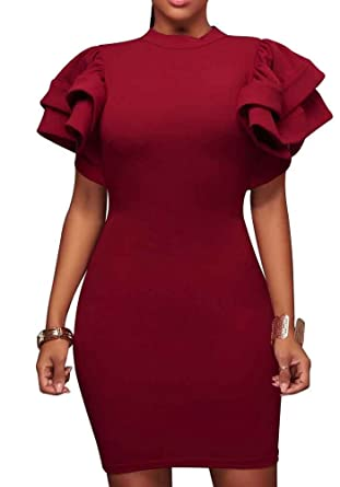a8582d892a51d Enggras Turtleneck Ruffle Dress Short Sleeve Bodycon Party Cocktail Mini  Dresses Burgundy S