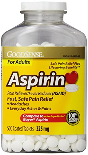GoodSense Coated Aspirin Pain Reliever Tablets, 325 mg, 500 Count
