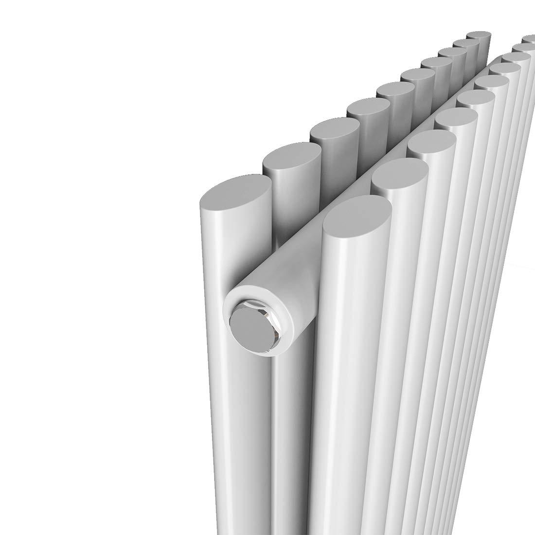 Wei/ß 1814 Watt Vertikal Oval Paneelheizk/örper Heizung Mittelanschluss Doppellagig Design Oval Vertikal Heizk/örper Heizung 1800 x 480 mm