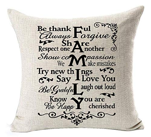 Best Gifts Funny Warm Sweet Sayings Family Meaning Explanation Words Letter Be Thankful Share Laugh Out Loud Cotton Linen Throw Pillow Case Cushion Cover NEW Home Decorative Square 18X18 -