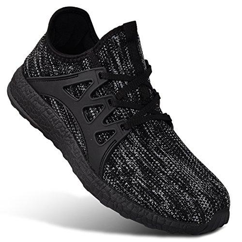 Grey Shoes Gym Mesh Breathable Feetmat Lightweight Sneakers Casual Black Men's WCwqxFT80U