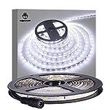 WenTop Waterproof Led Strip Lights,SMD 3528 16.4 Ft (5M) 300 LED 60leds/m Cool White Led Lights,TV Backlight,Led Strips,Ribbon Light,Rope Lighting,Kitchen Led Lighting - Not Contain the Power Suppl