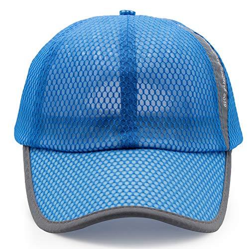 (ROWILUX Unisex Summer Breathable Quick Dry Mesh Baseball Cap Sun Hat,Blue)