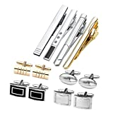 Jovivi 12pcs Stainless Steel Men's Classic Silver Cufflinks and Tie Bar Set for French Cuff Dress Shirts with Gift Box (Set #5)
