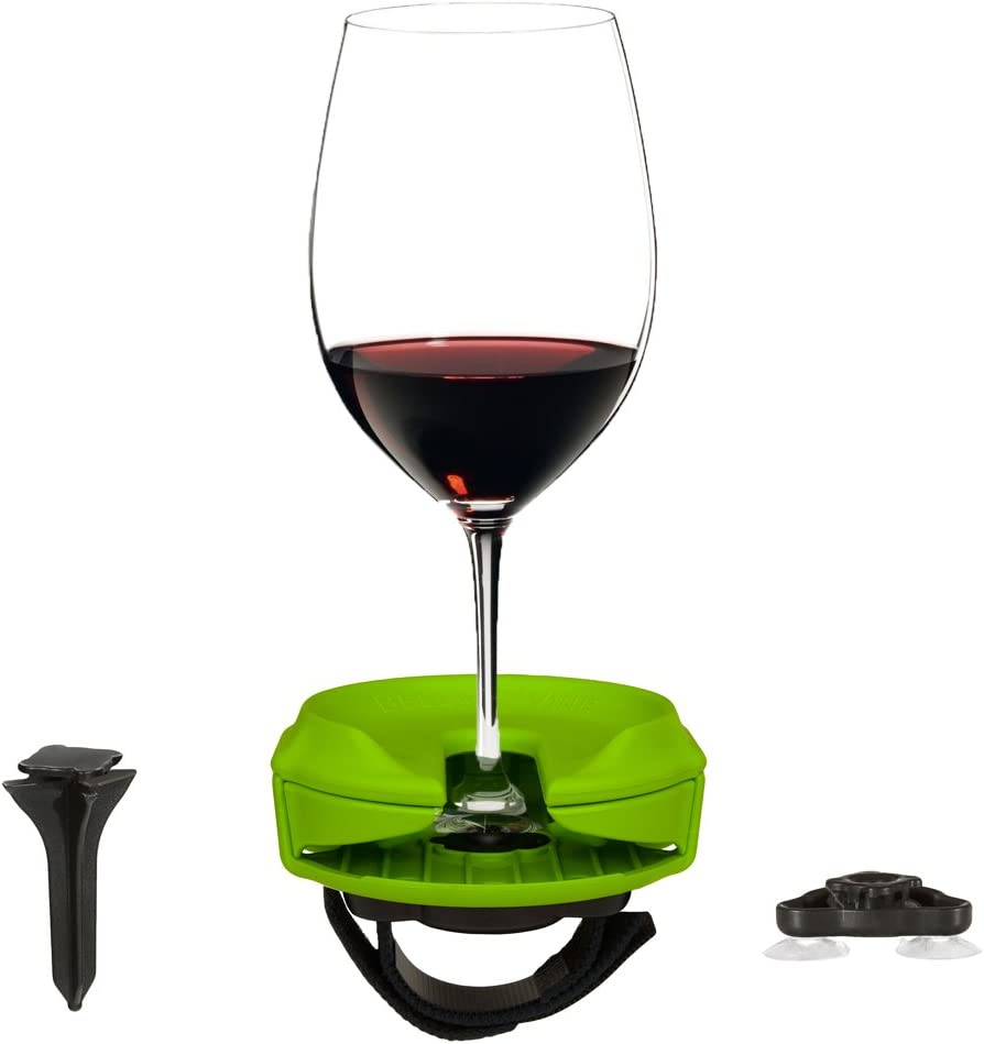 Outdoor Wine Glass Holder by Bella D'Vine – 3 Attachments Include Lawn Wine Stake for Picnics, Suction Base for Boats and Hot Tubs, Strap for Patio Chairs – Fun Wine Gift – Lime Green