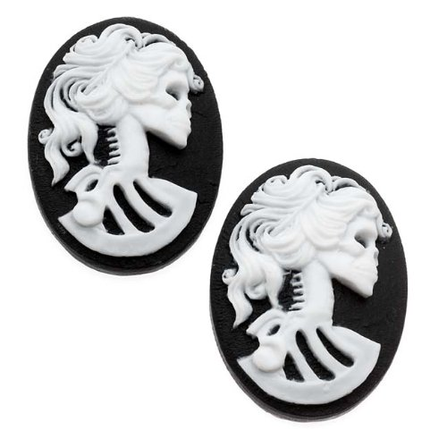 (Beadaholique Lucite Oval Cameo - Black with White Lolita Skeleton 25x18mm (2 Pieces))