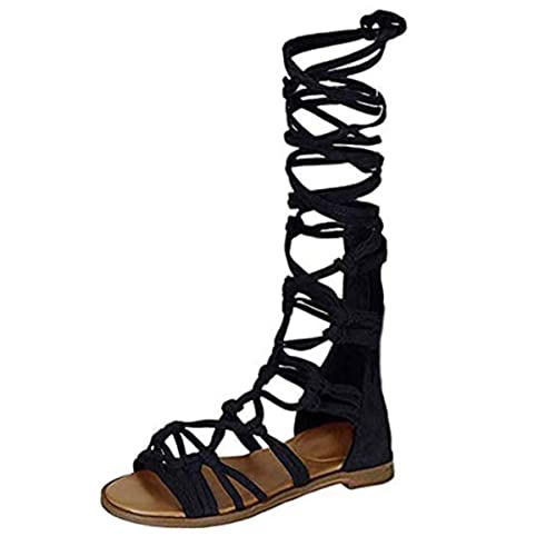 super popular 866f4 16c1f ZhengYue Sandalen Damen,Schuhe Hohe Stiefel Shoes Schuh Böhmen Sommerschuhe  Sandaletten Geflochten Frauen Sommer Offene Flach Badesandalette ...