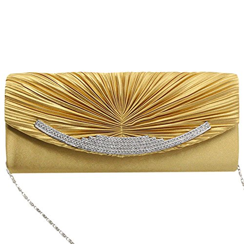 Party Wedding Crystal Diamante Purse Gold Bag Cckuu Evening Prom Clutch Pink Women Satin 4qxW8A
