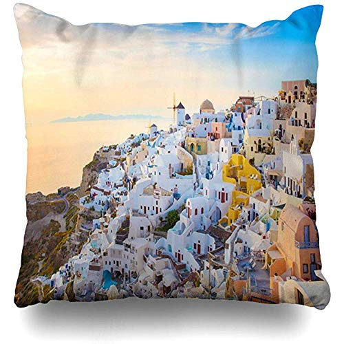 (Throw Pillow Cover Square 18x18 Exotic Blue Apartment Sunset Santorini Island Greece Parks Beach City Cityscape Design Cute Zippered Cushion Case Home Decor Covers)