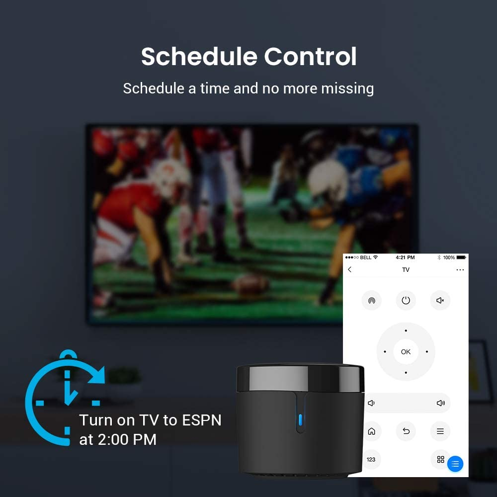 BroadLink Smart Home Hub-WiFi Remote Control IR Blaster for Smart Life Home Automation, TV Remote, Works with Alexa, Google Home, IFTTT (RM4 Mini) 51 2Bb2SgIRVL