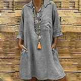 Todaies Women s Solid Dress, Boho Turn-Down Collar Casual Pocket Button Dress (M, Gray)