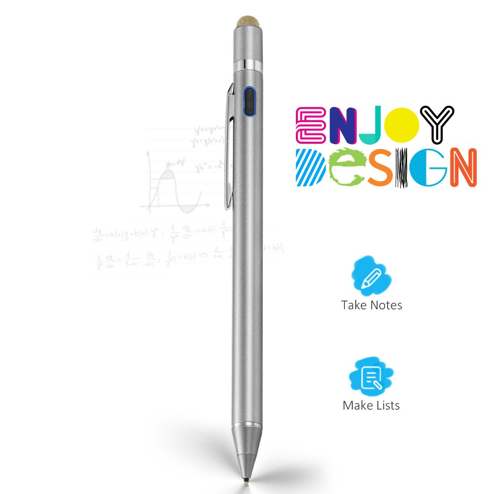 Evach 2 in 1 Electronic Stylus Digital Pen with 1.5mm Ultra Fine Tip for iPad iPhone Samsung Tablets, work on Capacitive touchscreen,Good at Drawing and Writing, Grey
