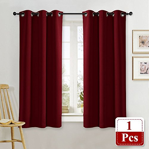 NICETOWN Burgundy Blackout Window Curtain for Kitchen Noise Reducing Solid Grommet Window Treatment Drapery/Drape for Thanksgiving & Christmas Decor (One Pack, 42 by 63-Inch, Burgundy -