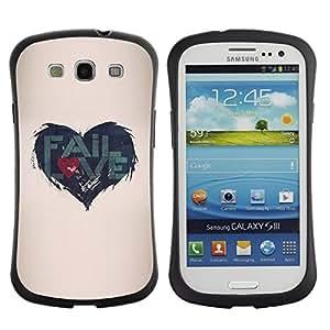 "Hypernova Slim Fit Dual Barniz Protector Caso Case Funda Para SAMSUNG Galaxy S3 III / i9300 / i747 [Cita de Amor Heartbreak Beige""]"