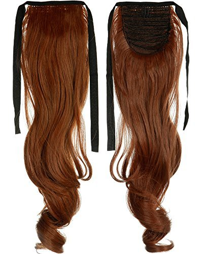 18 Inches Curly Light Auburn One Piece Tie Up Ponytail Clip in Hair Extensions Hairpiece Binding Pony Tail Extension for Girl Lady Woman by US Fashion - In Stores Mall Auburn