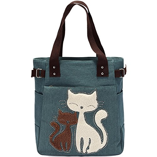 KAUKKO Casual Cute Two Cats Embroidered Canvas Tote Bag Shoulder Handbag for Women Army Green Canvas Tote Bag Handbag