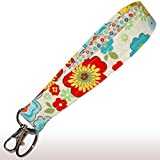Cream Floral Key Fob - 6'' Loop - Flower Keychain - Keychain Strap - Purse or Wallet Strap