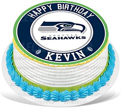 Seattle Seahawks Edible Cake Topper Personalized Birthday 8 Round Circle Decoration Party Sugar Frosting Transfer Fondant Image Best Quality