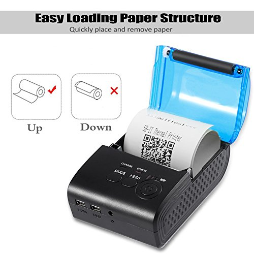 MinGz Thermal Receipt Printer,Portable Personal Printer Mini Wireless Bluetooth Printer for iOS and Android Systems,58MM USB Thermal Printer Compatible with ESC / POS Print Commands Set Photo #3