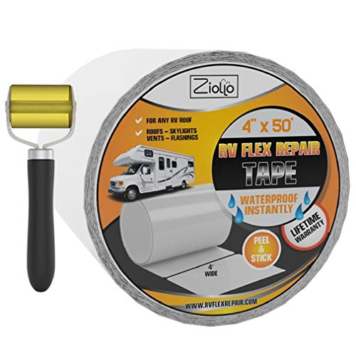 RV Flex Repair Tape | White | 4 Inch x 50 foot Roll | Seal and Waterproof Roofs | Bond to EPDM Rubber with Butyl Sealant | Vent | Skylight | Flashing | Motorhome | Trailer | Seam Roller Included |