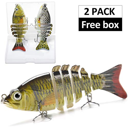 Supertrip 5/8-Ounce 5-Inch 8 Segment Swimbait Lures Crankbaits Baits Hard Bait Fishing Lures (2pcs-004)