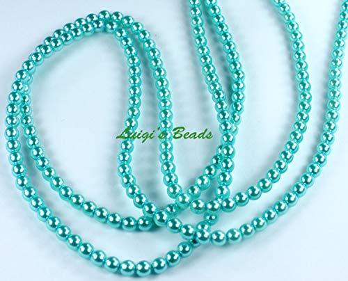 (astorfarm 110 Baby Blue Czech Glass Pearl Coated Round Beads- 4mm)