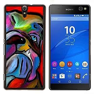 EJOOY---Cubierta de la caja de protección para la piel dura ** Sony Xperia C5 Ultra ** --Bulldog Inglés Arte Pintura Perro colorido