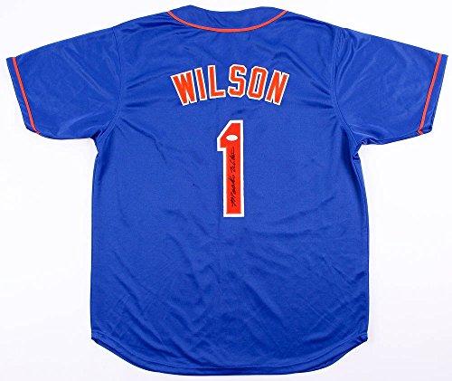 MOOKIE WILSON SIGNED ON FIELD STYLE NEW YORK METS NY JERSEY w/ JSA WITNESSED COA (Jersey Mets Autographed)