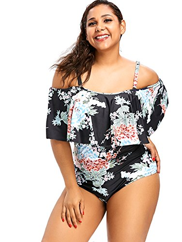 55d680bba0 CharMma Women's Plus Size One Piece Floral Off Shoulder Flounce Ruffled  Swimsuit