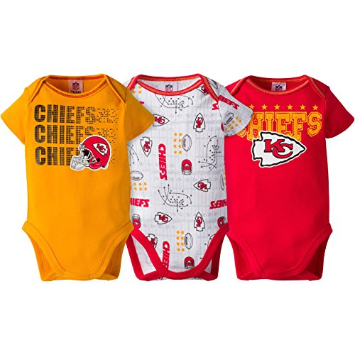 Chief Suit (Kansas City Chiefs 3 Pack Short sleeve Bodysuit Onesie Infant Baby Toddler Boys- Includes 3 Bodyuit/Onesie (0-3 Months))