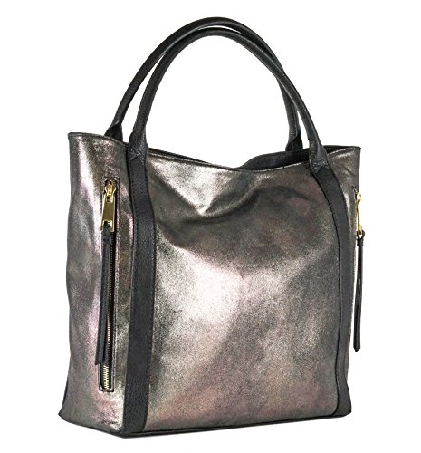 (Women's Stylish Black Metallic Tote Handbag Perfect for Work and Weekends)