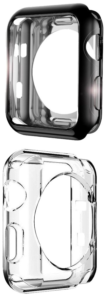 Apple Watch Case, UBOLE Scratch-resistant Flexible Lightweight Plated TPU Full Body Protective Case for iWatch Series 3, Series 2, series 1 (CLEAR+BLACK 38mm)
