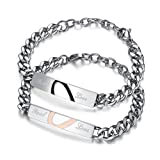 XIAOLI Real Love Stainless Steel Couple Bracelets For Women Men Jewelry Matching Set (Style 1)