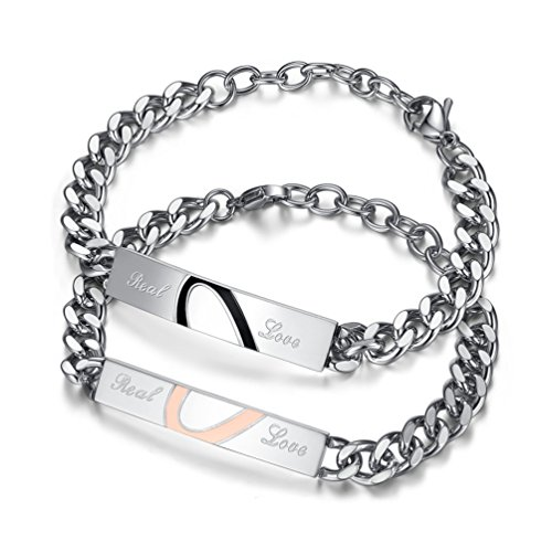 XIAOLI Real Love Stainless Steel Couple Bracelets For Women Men Jewelry Matching Set (Style 1) by XIAOLI (Image #8)'