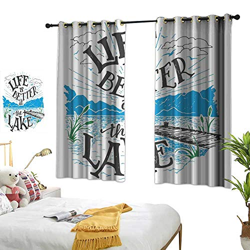 Unpremoon Curtains Cabin Decor Queen Size,Life is Better at The Lake Wooden Pier Plants Mountains Outdoors Sketch,Blue Black Green W55 x L72 Living Room Drapes ()